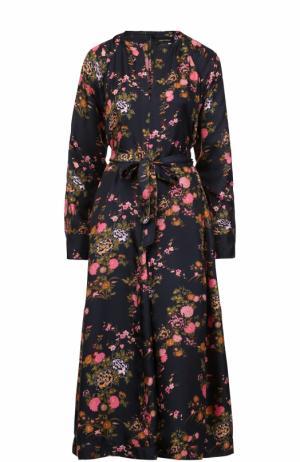 Шелковое платье-миди с принтом и поясом Isabel Marant. Цвет: черный