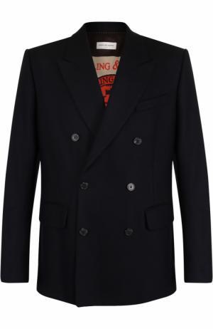 Шерстяной двубортный пиджак Dries Van Noten. Цвет: темно-синий