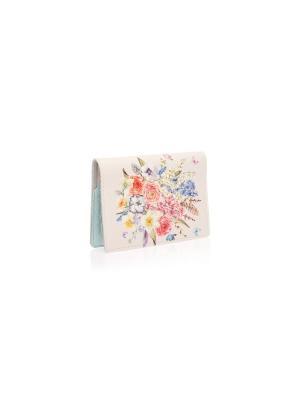 Обложка на паспорт с кожаной вставкой Букет и бабочки Eshemoda. Цвет: белый