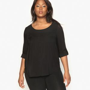 Блузка с длинными подворачивающимися рукавами CASTALUNA. Цвет: вишневый,черный