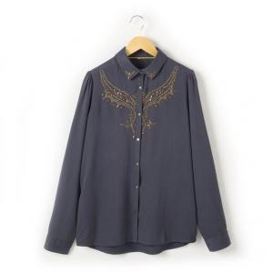 Рубашка с длинными рукавами R teens. Цвет: синий