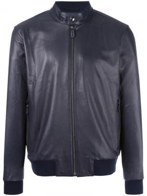 Кожаная куртка с узким воротником-стойкой Z Zegna. Цвет: синий