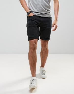 Bellfield Черные джинсовые шорты. Цвет: черный