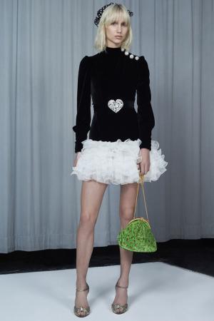 Бархатное платье с воланами Alessandra Rich. Цвет: черный, белый