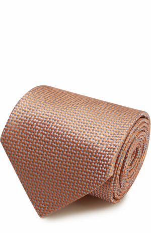 Шелковый галстук с узором Brioni. Цвет: оранжевый