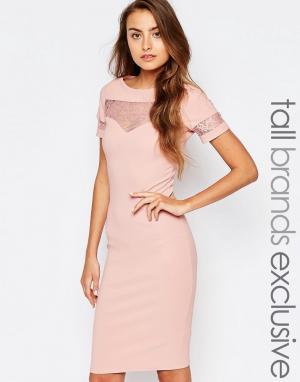 Paper Dolls Tall Облегающее платье в рубчик с кружевной вставкой. Цвет: розовый