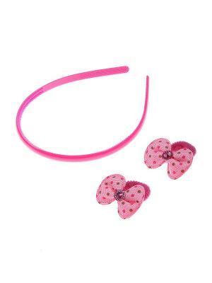 Комплект (Ободок, резинка - 2 шт.) Migura. Цвет: бордовый, розовый