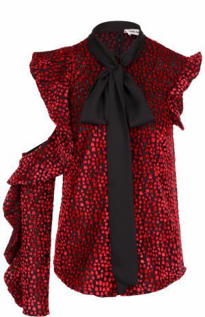 Блуза асимметричного кроя с воротником аскот self-portrait. Цвет: красный