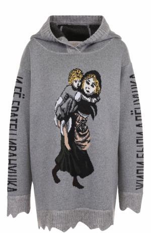 Шерстяной пуловер с принтом и капюшоном Tak.Ori. Цвет: серый