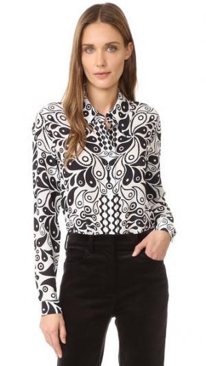Шелковая рубашка с принтом Holly Fulton. Цвет: черный/белый