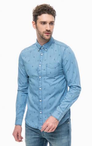 Джинсовая рубашка с длинными рукавами Wrangler. Цвет: синий
