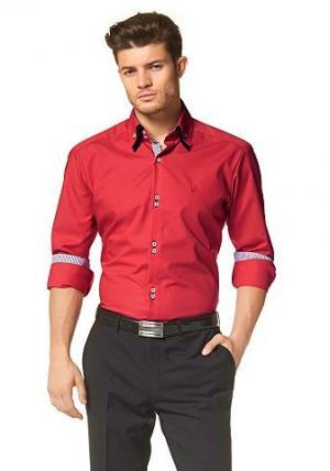 Рубашка в деловом стиле от BRUNO BANANI. Цвет: светло-красный