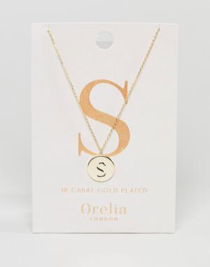 Orelia Позолоченное ожерелье с инициалом S на подвеске-диске. Цвет: золотой