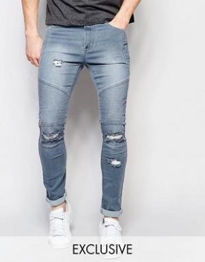 Liquor & Poker Рваные байкерские джинсы скинни выбеленного серого цвета Poke. Цвет: серый