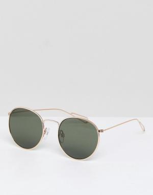 Weekday Солнцезащитные очки с золотистой оправой и зелеными стелами. Цвет: золотой
