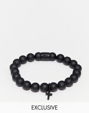 Chained & Able Черный браслет из бусин с крестиком. Цвет: черный