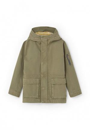Куртка Mango Kids. Цвет: хаки
