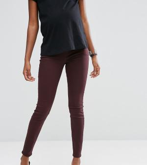 ASOS Maternity Темно-бордовые джинсы для беременных с посадкой под животом Mater. Цвет: красный