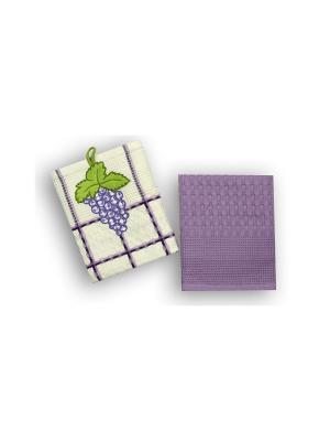 Набор полотенец Овощи-Фрукты из 2-х шт. 45*70 Bonita, вафельных BONITA. Цвет: белый, лиловый