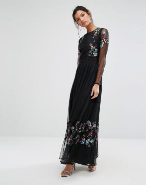 Frock and Frill Платье макси с вышивкой и прозрачными рукавами. Цвет: черный