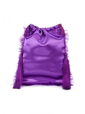 Сатиновая сумка-мешок с декоративными кистями Attico. Цвет: розовый и фиолетовый