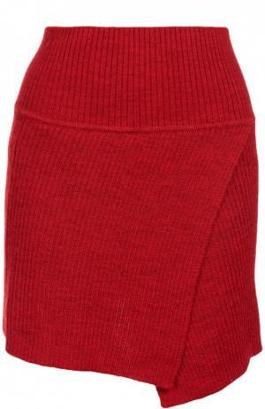 Вязаная мини-юбка асимметричного кроя Isabel Marant Etoile. Цвет: красный
