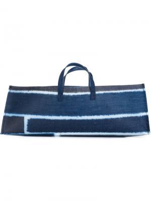 Полосатая прямоугольная сумка-тоут Luisa Cevese Riedizioni. Цвет: синий