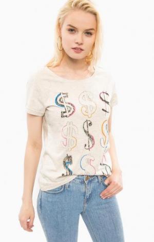 Хлопковая футболка с принтом Pepe Jeans. Цвет: бежевый