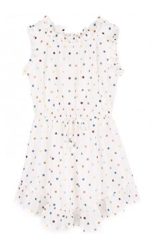 Пляжное мини-платье из хлопка в горох Zimmermann. Цвет: белый