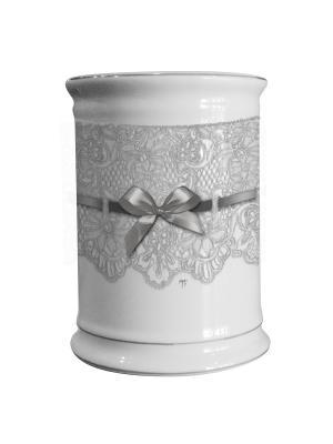 Стакан для зубных щеток керамический 8см Кружево. Mathilde M. Цвет: белый, черный