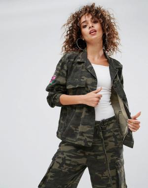 Gestuz Куртка в стиле милитари с камуфляжным принтом Milla. Цвет: зеленый