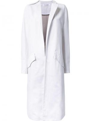 Удлиненное пальто без воротника Bianca Spender. Цвет: белый
