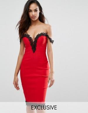 Rare Платье миди с вырезом сердечком и кружевной отделкой London. Цвет: красный