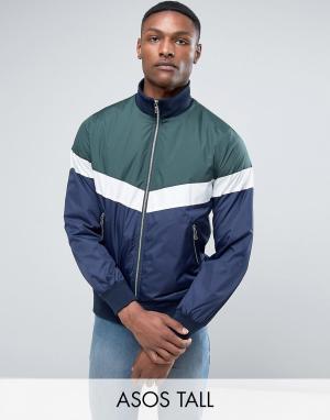 ASOS Спортивная куртка на молнии в стиле колор блок TALL. Цвет: зеленый