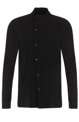 Хлопковая рубашка с косым рядом пуговиц Masnada. Цвет: черный
