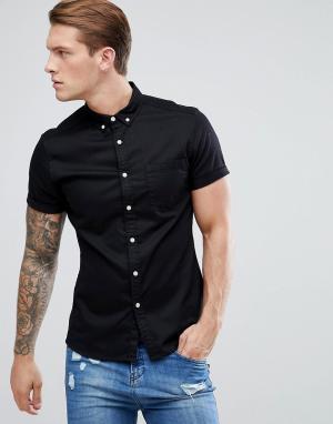 ASOS Черная эластичная джинсовая рубашка приталенного кроя. Цвет: черный