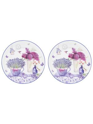 Набор из 2- тарелок Лаванда Elan Gallery. Цвет: синий, сиреневый, фиолетовый