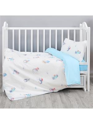Комплект постельного белья в кроватку бязь Пингвинчики (простыня на резинке) Непоседа. Цвет: голубой, белый