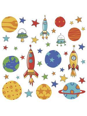 Наклейки для декора Планеты и ракеты ROOMMATES. Цвет: оранжевый, белый, желтый, черный, синий, зеленый, серый, голубой, красный