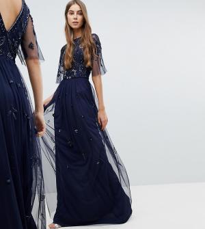 Amelia Rose Tall Платье макси с декорированным топом и короткими рукавами T. Цвет: темно-синий