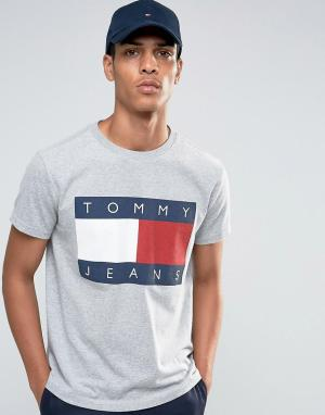 Tommy Jeans Серая меланжевая футболка в стиле 90-х. Цвет: серый