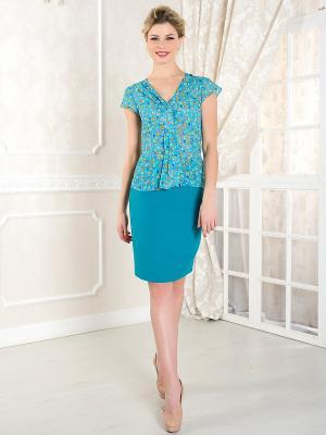 Блузка KEY FASHION. Цвет: зеленый, голубой, оранжевый, белый