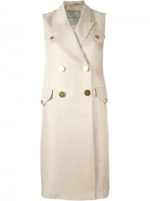 Двубортное пальто без рукавов Ermanno Scervino. Цвет: телесный