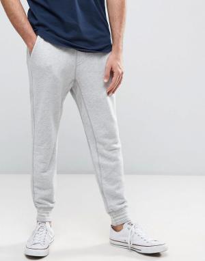 Hollister Серые узкие меланжевые джоггеры с манжетами. Цвет: серый
