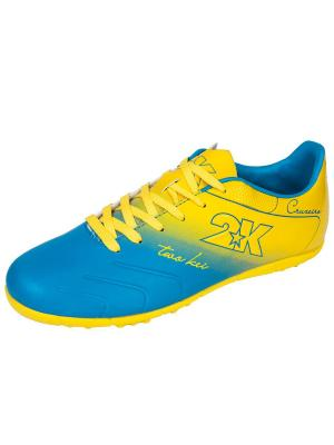 Бутсы футбольные Cruzeiro (шиповки) 2K. Цвет: голубой, желтый