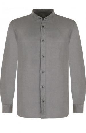 Льняная рубашка с воротником-стойкой 120% Lino. Цвет: серый