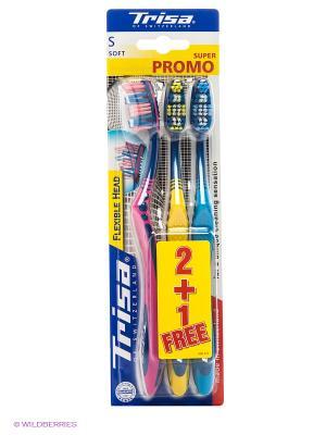 Зубная щетка Flexible Head TRIO TRISA. Цвет: голубой, желтый, фуксия