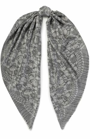 Шелковый платок с принтом Michele Binda. Цвет: черно-белый