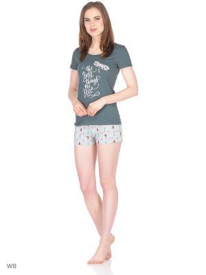 Пижама ГАРМОНИЯ.. Цвет: темно-зеленый, серый меланж