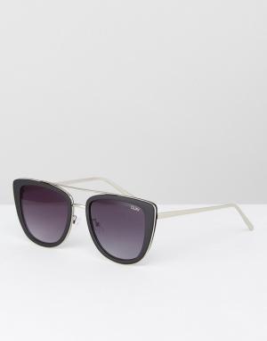 Quay Australia Черные солнцезащитные очки кошачий глаз French Kiss. Цвет: черный